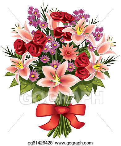 Stock illustration of flowers. Bouquet clipart floral