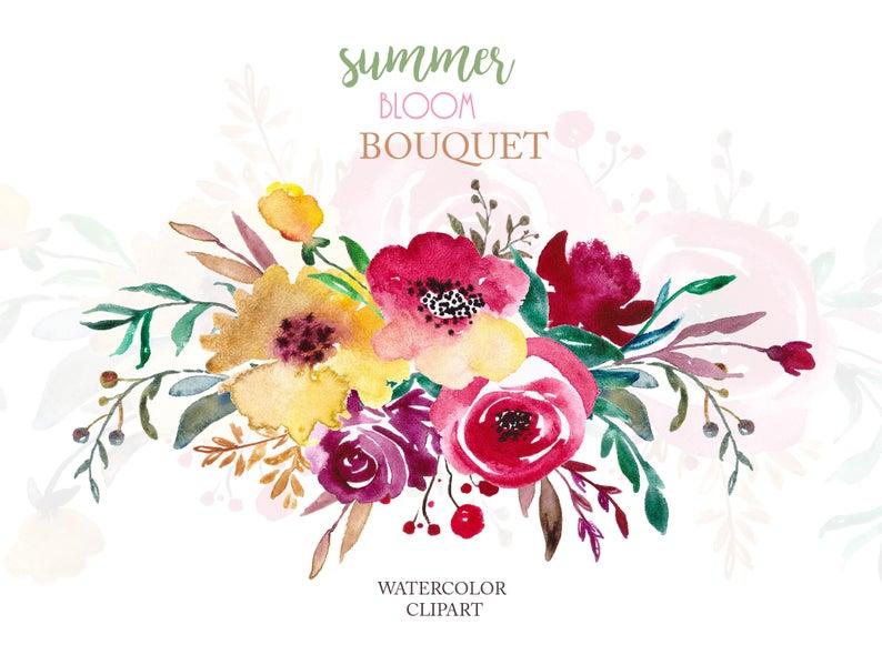 Watercolor flowers png floral. Bouquet clipart flower arrangement