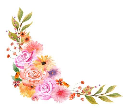 Bouquet clipart flower arrangement. Watercolor autumn floral