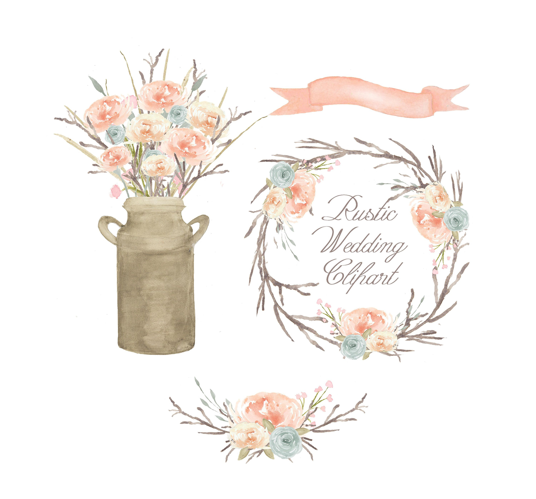 Bouquet clipart flower arrangement. Watercolor floral scheme of