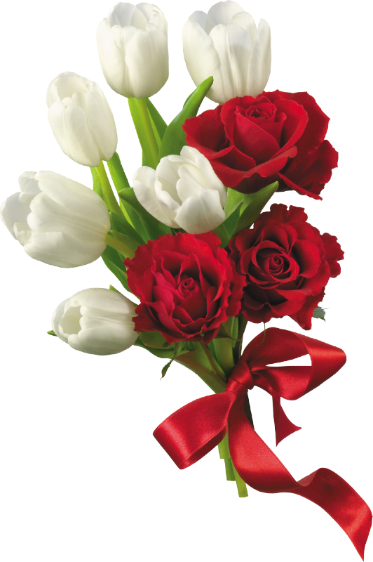 Heart clipart bouquet. White tulips and red