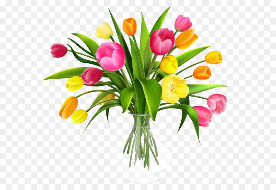 Bouquet clipart flower bokeh. Tulip clip art vase