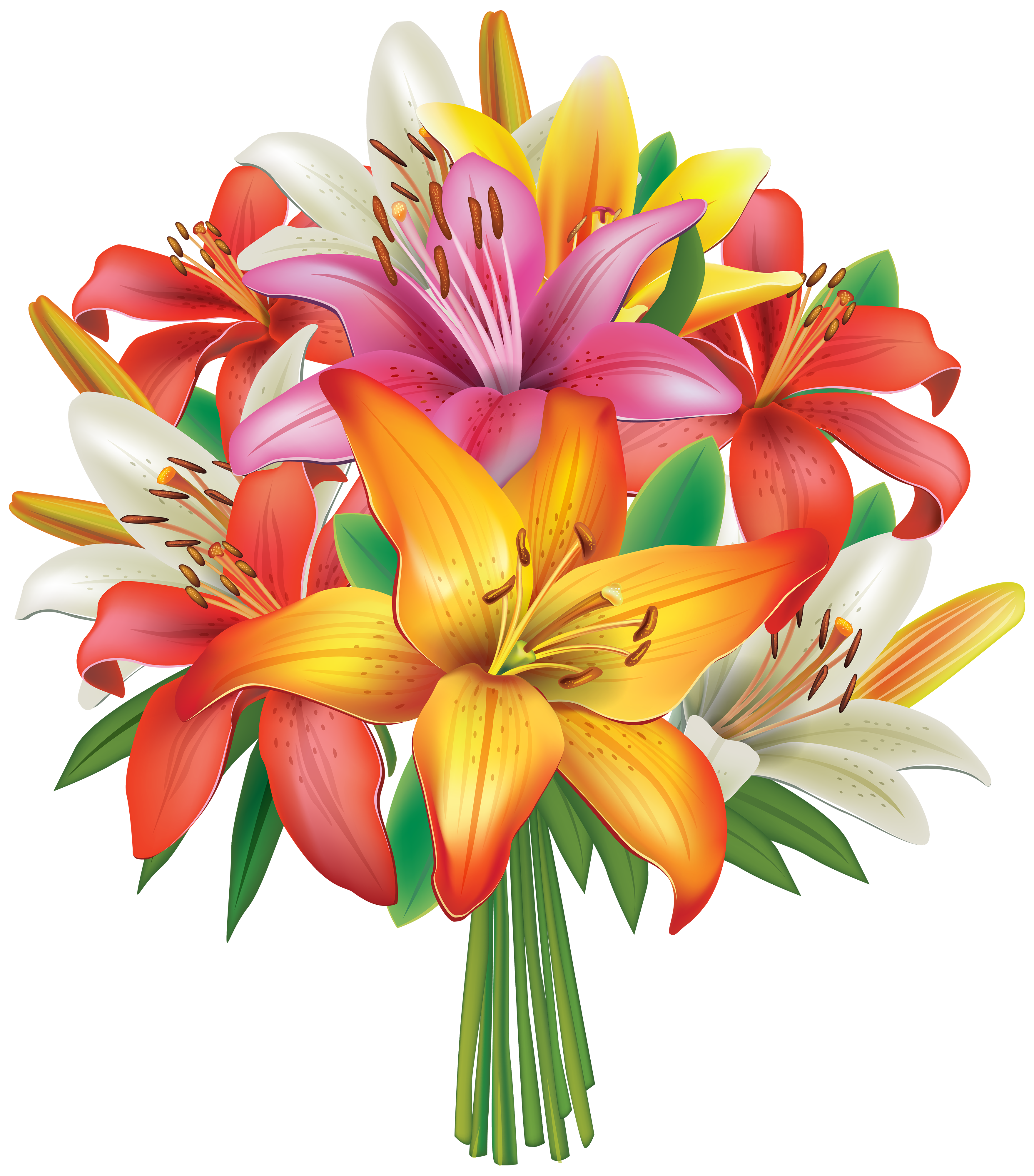 Clipart roses birthday. Lilies flowers bouquet png