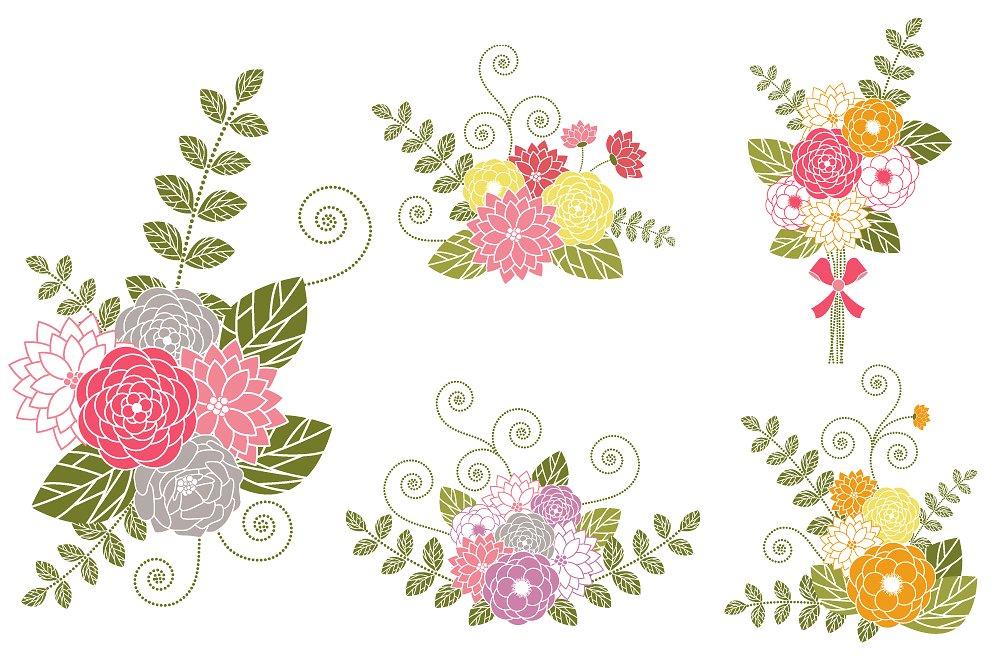 Bouquets clip art illustrations. Bouquet clipart flower bunch