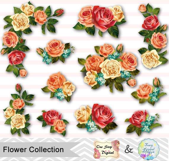 Bouquet clipart flower bunch. Digital clip art pink