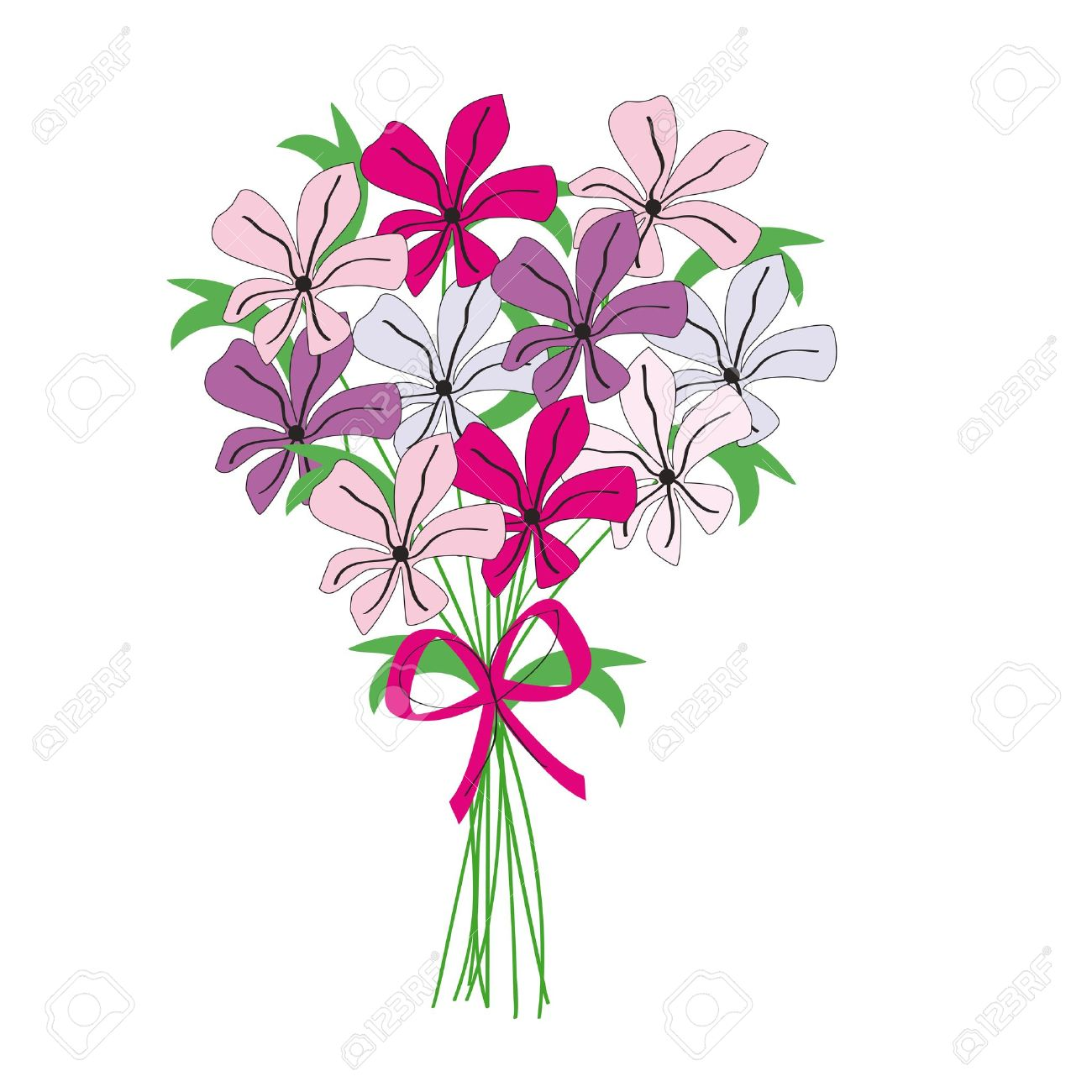 Bouquet clipart flower bundle. Bunch drawing at getdrawings