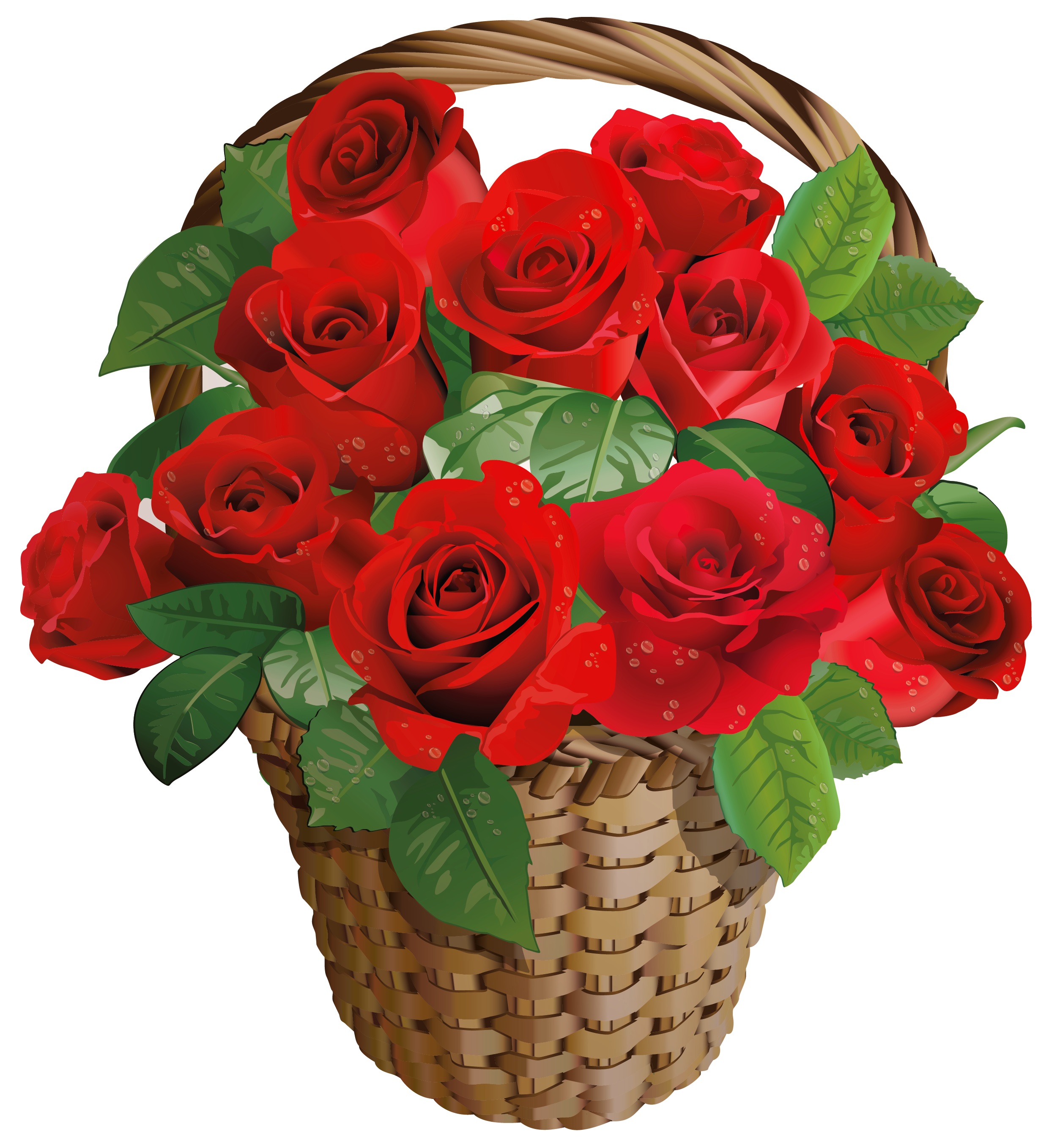 Valentine rose basket png. Bouquet clipart gift