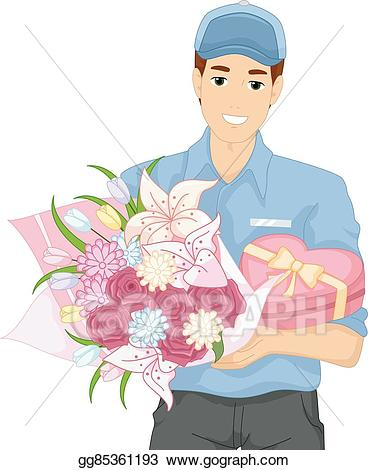 Bouquet clipart gift. Vector stock man flowers