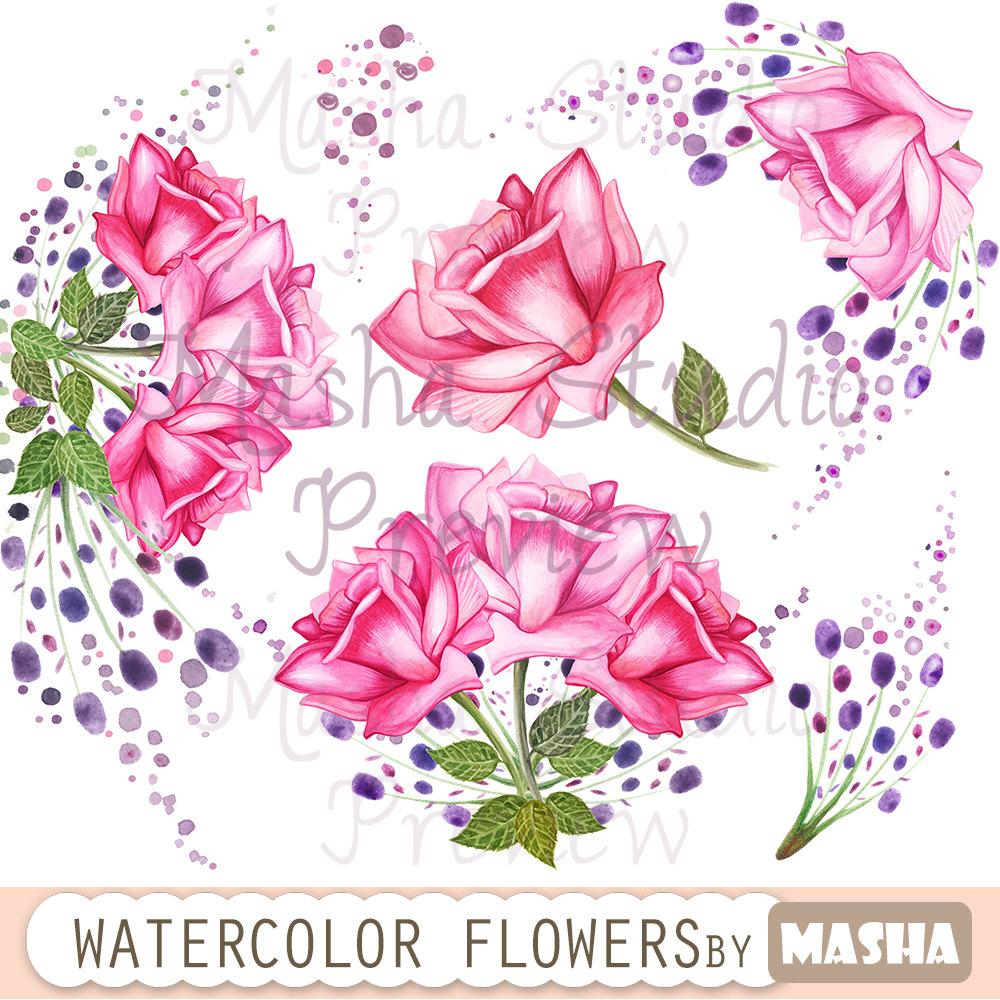 Bouquet clipart hand. Watercolor flowers roses