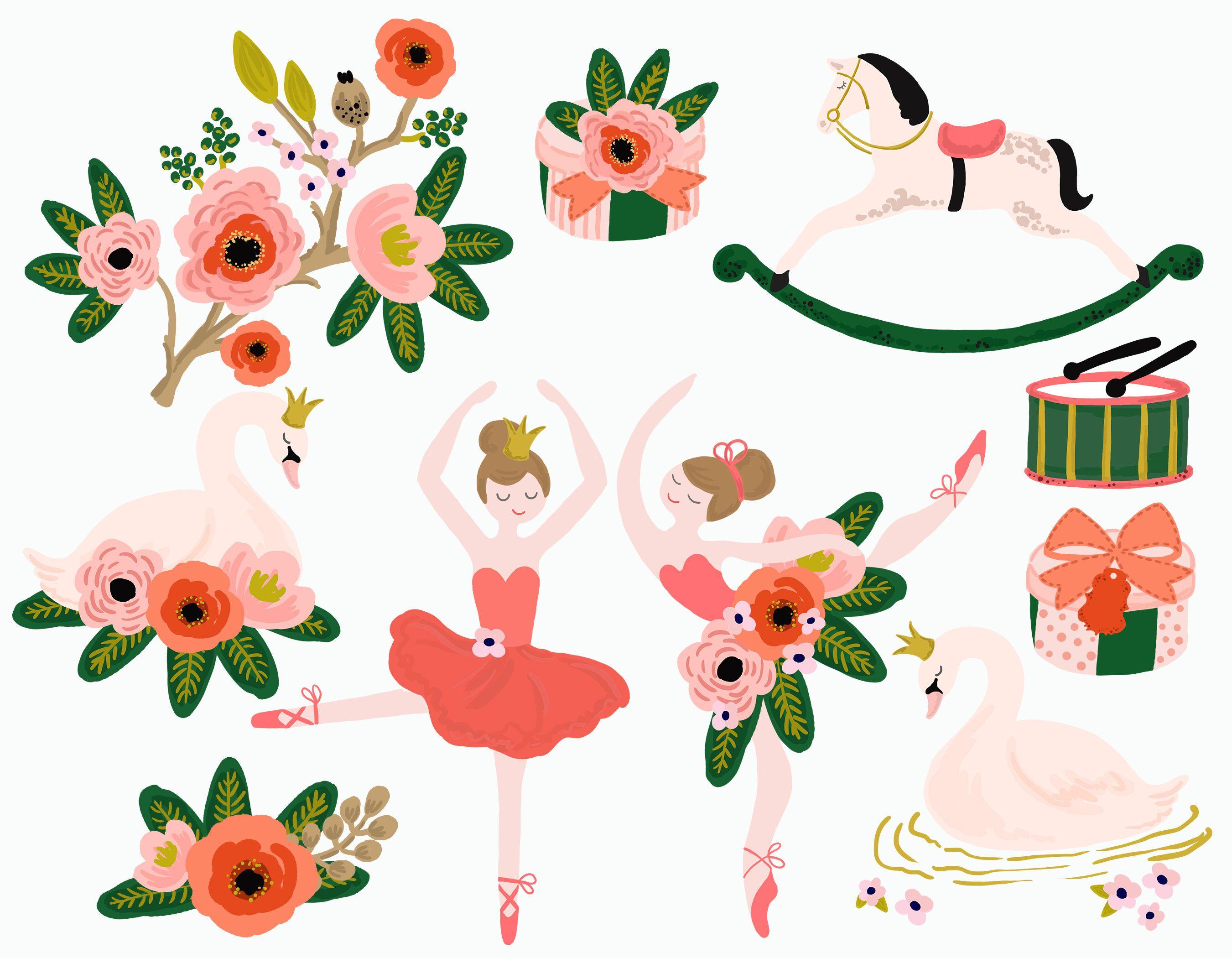 Bouquet clipart hand. Ballet princess swan lake