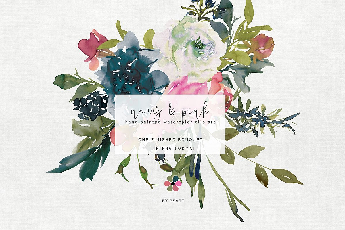 Painted watercolor floral . Bouquet clipart hand