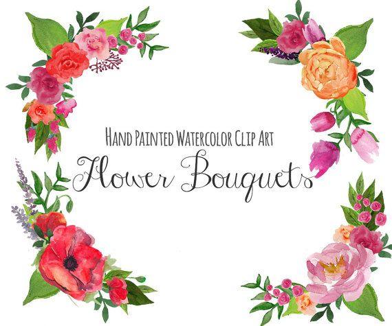 Bouquet clipart hand. Floral clip art frame