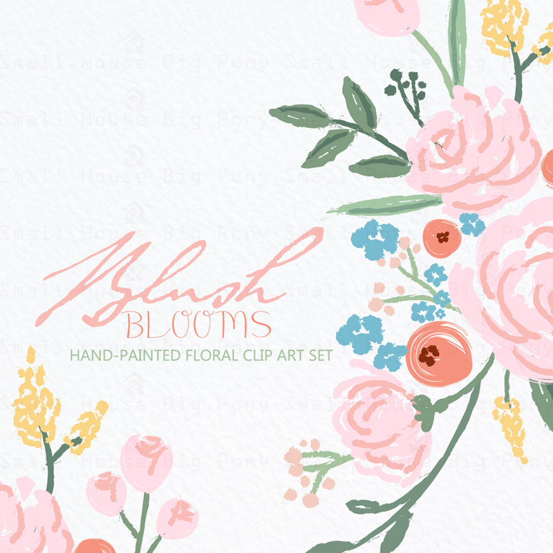 Digital drawn flower pink. Bouquet clipart hand