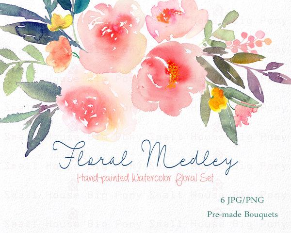 Bouquet clipart hand. Digital watercolor flower peonies