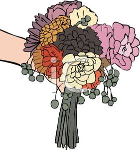 A holding of flowers. Bouquet clipart hand