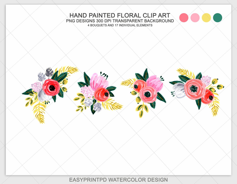 Painted flower clip art. Bouquet clipart hand