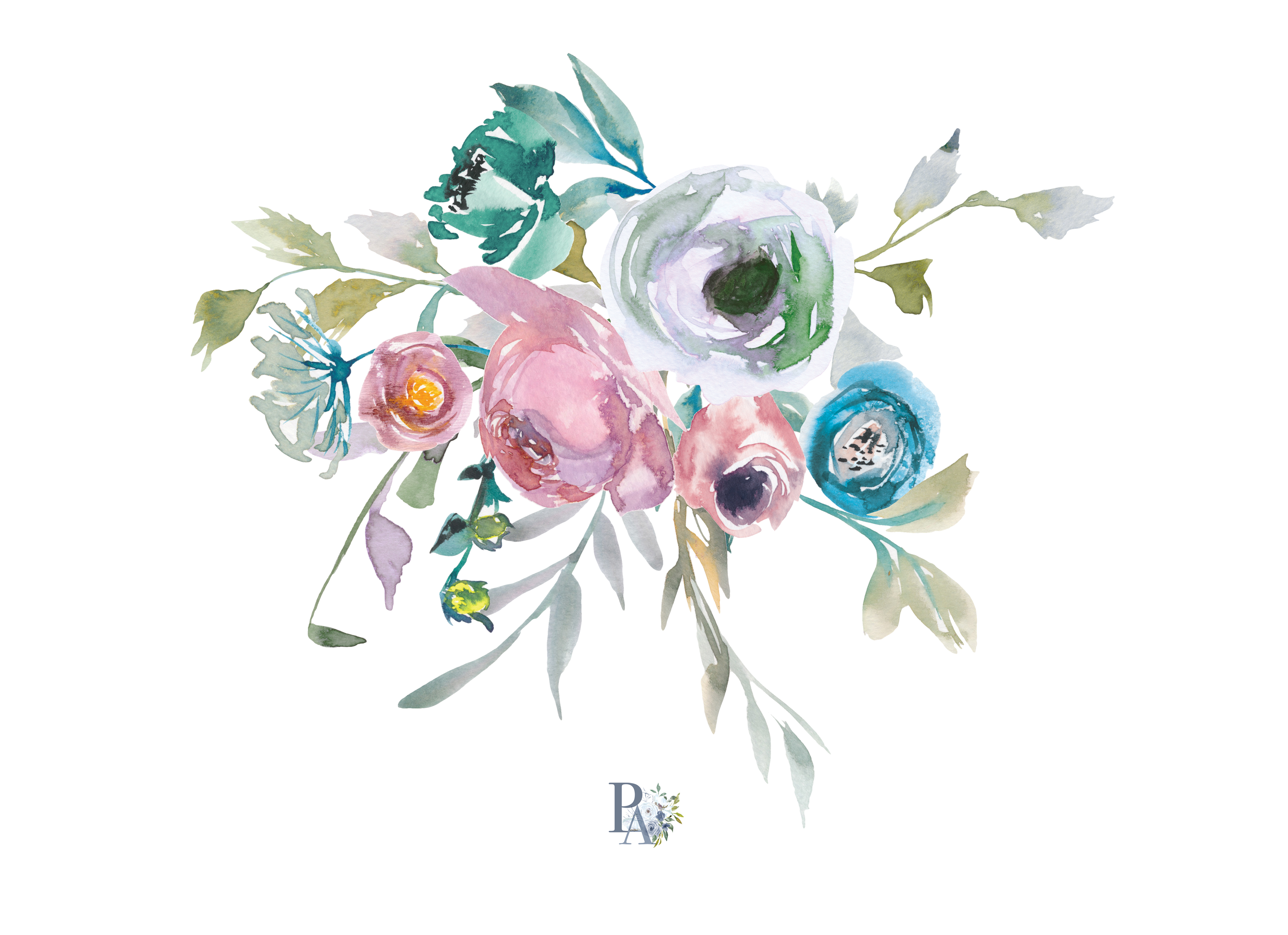 Bouquet clipart hand. Watercolor dusty blue and