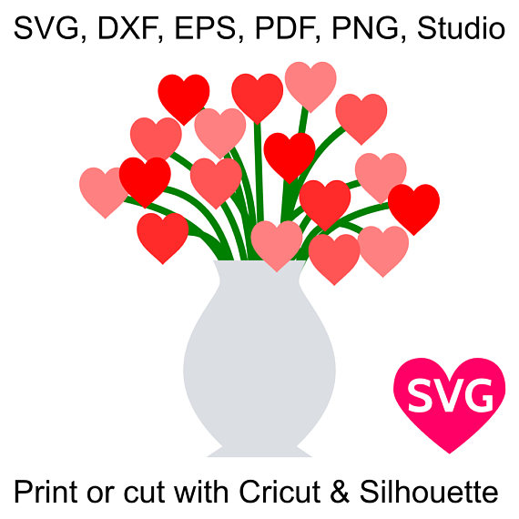 Bouquet clipart hearts. Of heart flowers svg