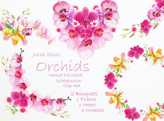 Watercolor wreaths bouquets heart. Bouquet clipart hearts