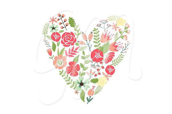 Bouquet clipart hearts. Wedding floral wreath heart
