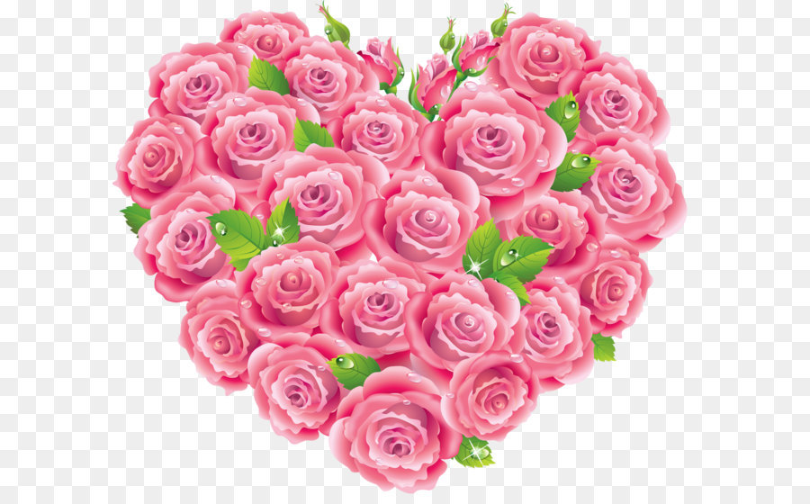 Rose pink heart clip. Bouquet clipart hearts