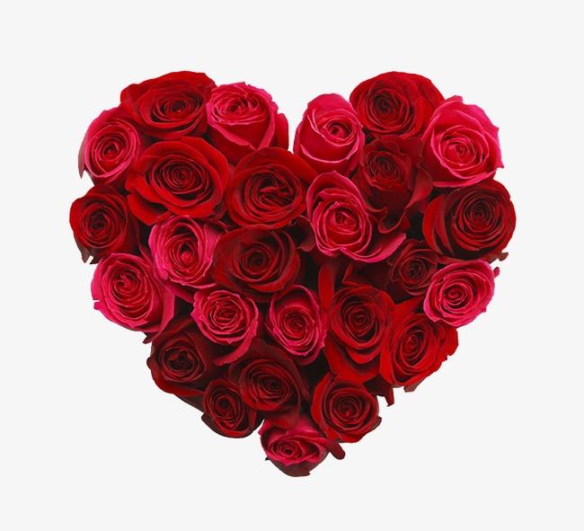 Heart shaped red rose. Bouquet clipart hearts