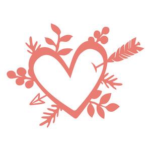 Silhouette design store view. Bouquet clipart hearts