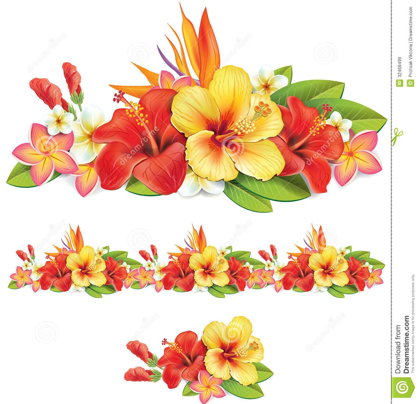 Bouquet clipart hibiscus. Garland of tropical flowers