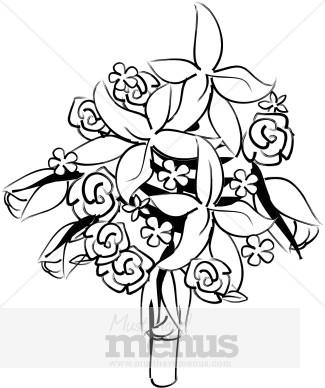 Bouquet clipart line art. Wedding