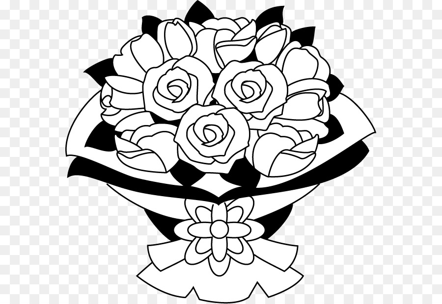Bouquet clipart line art. Of flowers png black