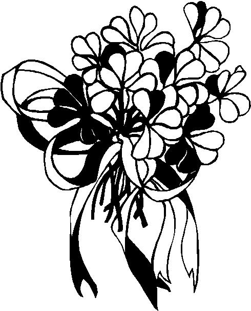 Bouquet clipart line art. Clip black and white