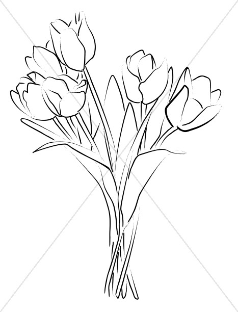 Church flower spray images. Bouquet clipart line art