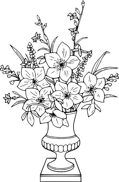 Lily clip free vector. Bouquet clipart line art