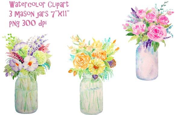 Bouquet clipart mason jar. Watercolor vase of flowers