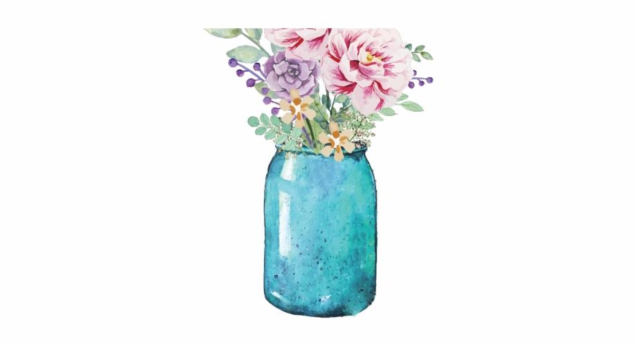 Bom dia seja luz. Bouquet clipart mason jar