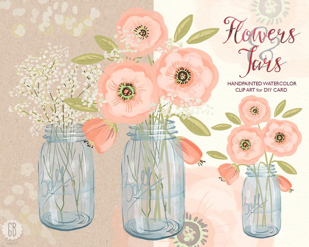 Watercolor baby breath cream. Bouquet clipart mason jar