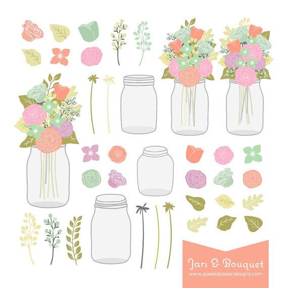 Bouquet clipart mason jar. Flower digital graphics for