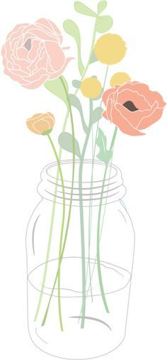 Bouquet clipart mason jar. Flower in a rose