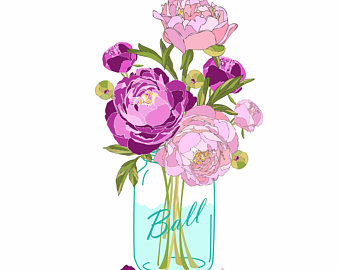 Wedding clip art digital. Bouquet clipart mason jar