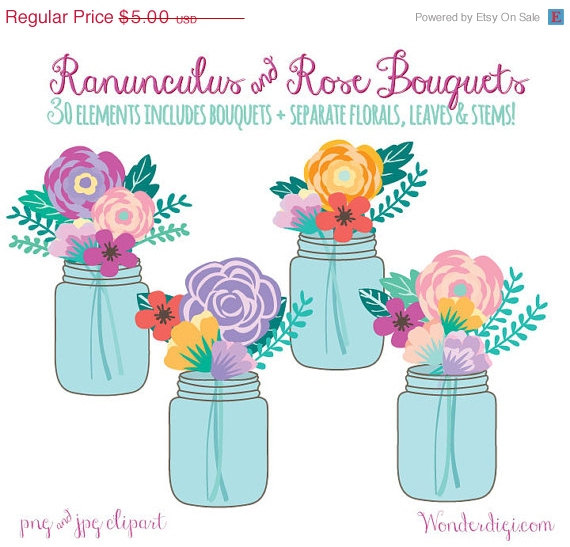 Bouquet clipart mason jar. Sale floral flowers wedding