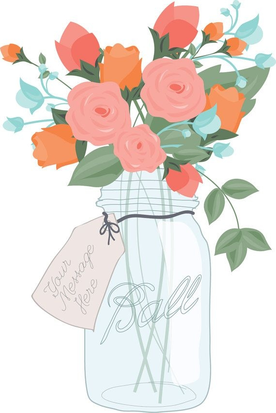 Flower digital clip art. Bouquet clipart mason jar
