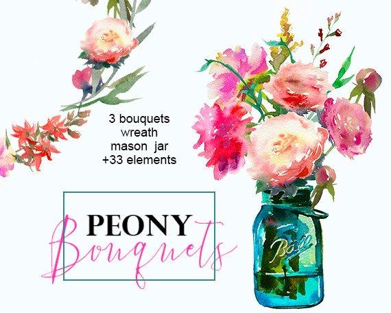 Bouquet clipart mason jar. Floral peonies art watercolor