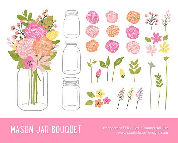 Flowers clip art rose. Bouquet clipart mason jar