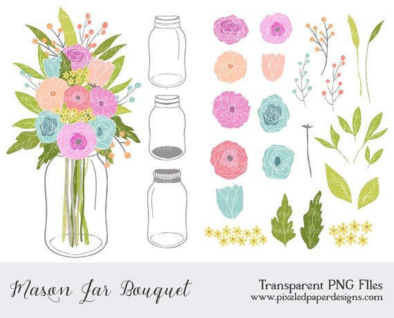 best clip art. Bouquet clipart mason jar