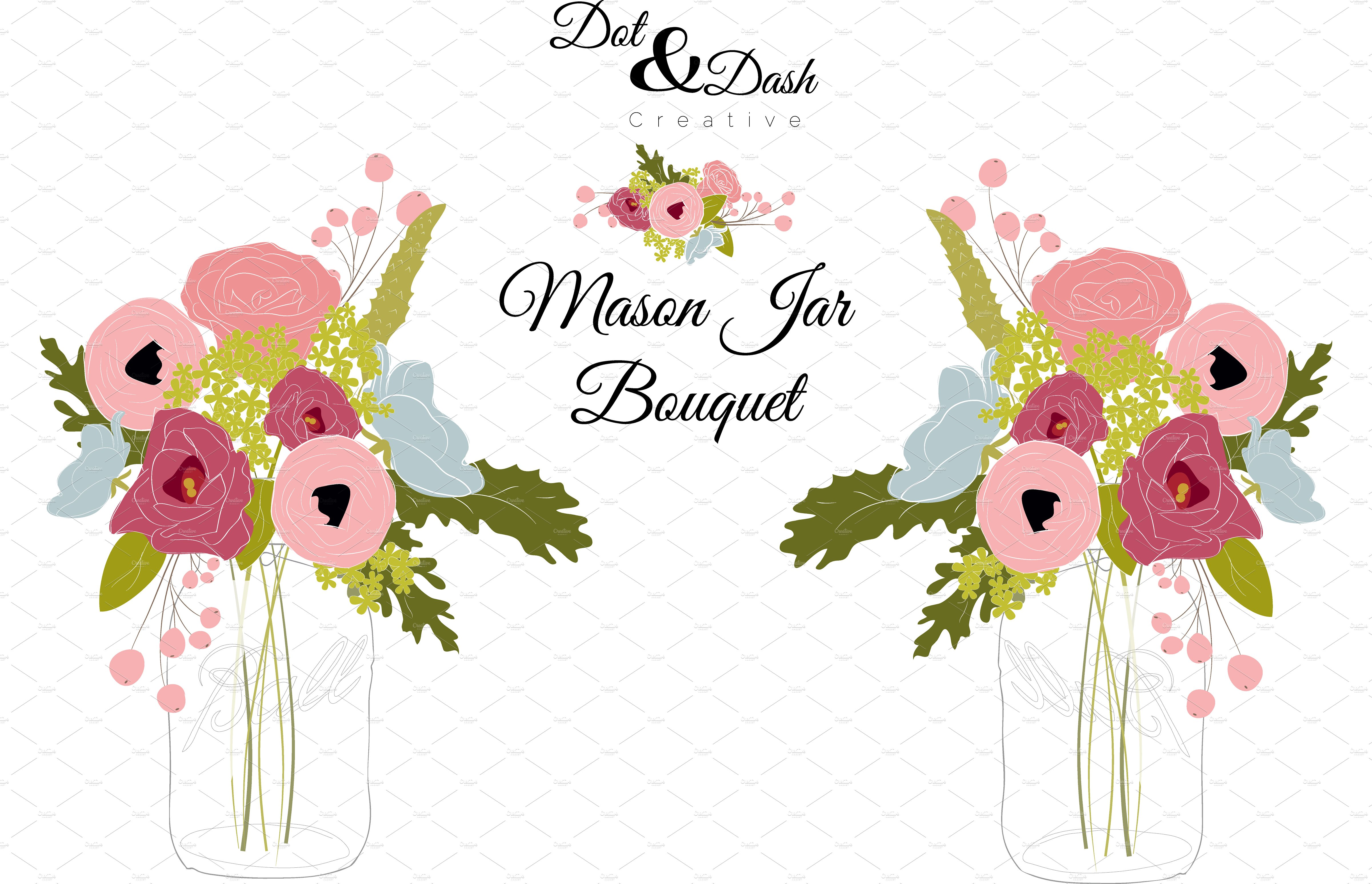 Bouquet clipart mason jar. Peony in vector graphics