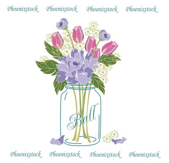 Bouquet clipart mason jar. Wedding clip art digital