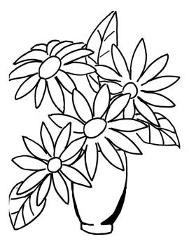 Flower in a vase. Bouquet clipart outline