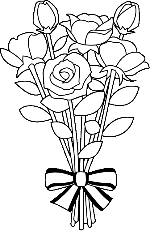 Black and white flowers. Bouquet clipart outline
