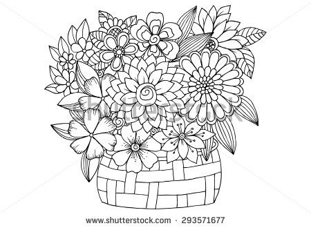 Bouquet clipart outline.  best flower tattoo