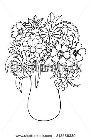 Bouquet clipart outline. Flower drawing at getdrawings